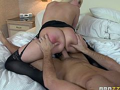 Busty blonde maid Kagney Linn Karter lets Keiran Lee fuck her butt