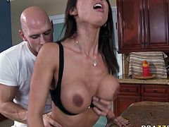 Attractive dark haired bitch with nice ass gets her dripping pussy fucked hard and gets a cunnilingus. Have a look at this chick in Brazzers Network sex video.