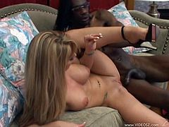Captivating blonde Aline admires a black dude with her cock-sucking skills. Then they fuck doggy style and in the cowgirl position and seem to enjoy it much.