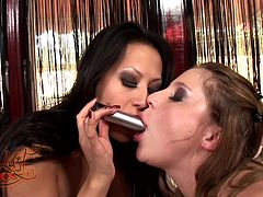 Aurora Snow and Gianna Lynn lick and toy each other's vags indoors