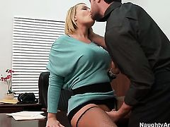 Charles Dera gets his always hard rod used by Mellanie Monroe with gigantic breasts and smooth pussy