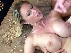 A fuckin' blonde with big ass tits sucks on this fucker's cock and fuckin' takes it balls deep into her sweet sweet pussy, check it out!