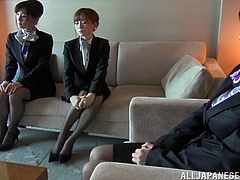 A few Japanese girls are waiting to be interviewed by their boss. They come to his office by turns, and the man makes them strip and demonstrate their big boobs.