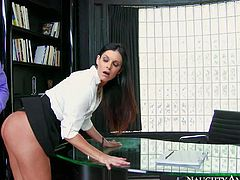 Elegant long legged MILF India Summer in black skirt and white blouse is his financial adviser. She catches her stealing companys money and she has nothing left but to take his dick in her pussy to play things cool.