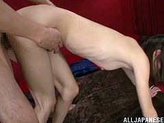 A petite Japanese girl gets her hairy pussy licked and fingered first. Aino Kishi gets fucked two times in a row. She likes that.