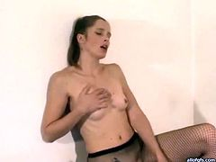 Provocative brownhead babe in fishnet pantyhose is fucking doggy style