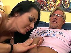 Sandra Romain is not obedient step daughter and her Dad decides to punish her giving the girl great sexual lesson where she sucks his dick and then rides his cock