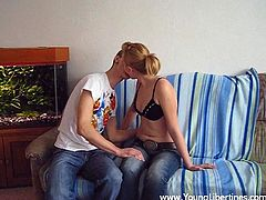 Take a look at this hot scene where this naughty blonde teen is nailed by her horny boyfriend in front of the camera.