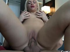 Bibi Noel is a blonde Hungarian bitch with huge boobs. She gets fucked by Nick Moreno's big cock. She performs on top, showing off her great tits and matching ass.