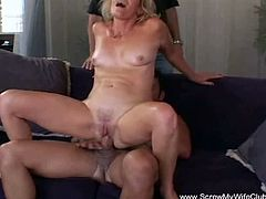 This mature blonde is game for getting fucked by a stranger with her husband next to her. She gets so excited, that she screams when she gets fucked by the new guy.