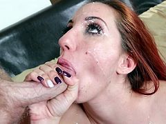 Never did sleazy redhead with huge boobs had such amazing time by sucking and fucking two cocks in the same time