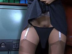 Lacy Nylons brings you a hell of a free porn video where you can see how this nasty Asian brunette in stockings dildos her tight cunt into a breathtaking explosion of pleasure.