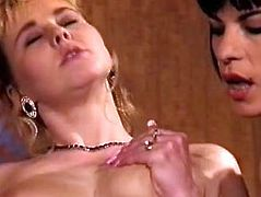 Raven haired torrid wench bounce don that massive cock in reverse cowgirl position. Her sexy blond kooky in red lingerie licked her nipples meanwhile..Have a look at that dirty threesome in The Classic Porn sex clip!