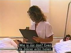 Curly and light haired whores in nurse suits rushed into office of that dude and rested on his table with legs spread. He gave both of them nice missionary style fuck.Watch that hard 3 some in The Classic Porn sex clip!