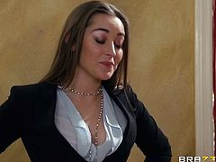 Capri Cavanni and Dani Daniels figured out that Keiran Lee stole jewelry from one and gave to the other. They yell at him and notice that he is getting hard, so they take advantage of his boner for their own pleasure.