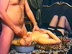 Light haired dirty bitch in black stocking had awesome 69 style fuck with that horny dude. Meanwhile her slutty brunette kooky licked hairy asshole of that ugly guy from behind. have a look at that dirty 3 some in The Classic Porn sex clip!S