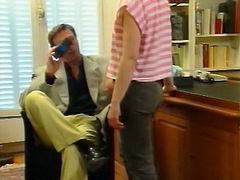 Busty torrid secretary blows staff sausage of her hungry chief in the office