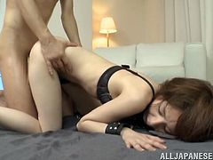 Yukina is a dirty little whore and she loves getting tied up and drilled by her lover. See this busty bitch with natural tits as she gets fucked.