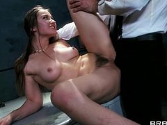 Saucy dark-haired skank sucks Johnny's dick before getting her trench banged on the table. Then she rides second agent's prick in a reverse cowgirl pose and asked him to cum on her slutty face.