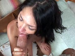 Take a look at this sassy babe as she goes down on her knees and gets to suck cock as hard as never before. She definitely enjoys slurping on that penis.