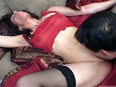 Provocative Mexican hoochie in stockings gets her pussy spooned from behind. Then she demonstrates her sucking skills and gets her shaved punani licked.