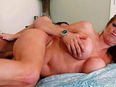 Nice looking mature woman Darla Crane with perfect huge tits loves fucking with young insatiable guys like her sons buddy Seth Gamble. He bangs hot big racked mom just like crazy.