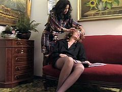 Booty brunette hoe got her pussy fisted tough from behind while licking sweet vagina of that blond haired tramp. Look at that hard lesbo sex in The Classic porn sex clip!