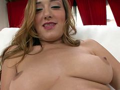 Sexy Victoria Rae Black Takes off her sexy silver panties and takes a big hard cock before getting her lovely face covered with cum.