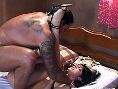 Seductive dark head MILF Sandra Fernandes is getting nailed hard missionary style. She then rides big dick on top. Later on blonde chick replaces Sandra.
