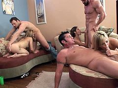 A bunch of fuckin' nasty ass whores suck dick and get nailed hard in their respective cunts, check it out right here, it's fuckin' awesome!