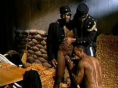 Black muscular gay dudes in uniform sucking horny stud huge hard cock in a wild gay threesome hardcore session in the barn.