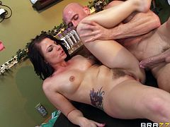 Engaging brunette Casey Cumz is having fun with Johnny Sins indoors. Johnny pleases Casey with massage, then pounds her pussy and butt in many positions.