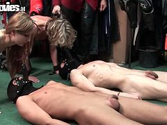 Fun Movies brings you a hell of a free porn video where yu can see how these blonde and brunette dommes sit on their slave's faces while assuming very hot poses.