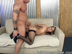 Hot blonde MILF Kat Kiss gets her precious lips around a big hard cock and gets on the couch to take a hard doggystyle fuck.