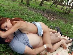 Redhead teen went to the forest knowing that she is all alone playing and toying her pussy with big dildo.  Unfortunately she got caught by an old man but immediately help her get off by fucking her right there right now.