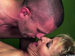 Blonde with juicy melons loves getting her pussy hole rammed by hot man