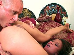 Brunette hottie Jayna Oso shows her shaved cunt to a guy and lets him lick it. Then they fuck in the cowgirl and the missionary positions and seem to be unable to stop.