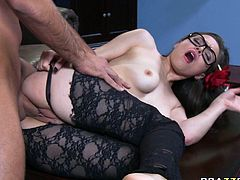 Seductive four eyed brunette throws her pantyhose legs wide open and gets her shaved muff rammed hard. She is provocative fuckable slut who deserves your time.