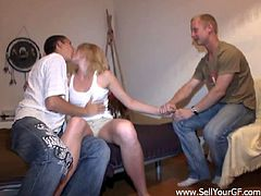 Lewd blonde Melinda and her BF Frank are gonna earn some money, so they invite Kostya to fuck the bitch for cash. Melinda sucks and rides Kostya's dick and Frank watches them.