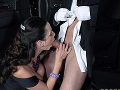 Sexy Ariella Ferrera has her huge boobs bouncing around from fucking his insanely hung driver Will Powers and gets a big cumshot in her mouth.