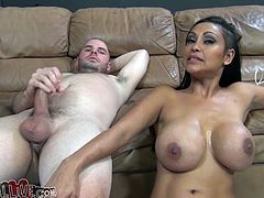 Big breasted Asian tramp Priya Rai blows big cock of her white stud