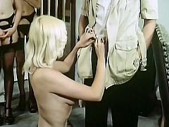 Blond haired filthy woman with big droopy breasts stands on knees and unzips trouser z of that timid boy. She is going to blow his staff cock hard...Just look at that hot sweetie in The Classic Porn sex clip!