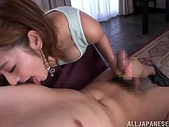 Stunning Minori Hatsune pleases some nerdy guy. She loves to do this with such loosers. Minori gives a handjob and also licks guy's nipples. Of course the girl also sucks a dick.