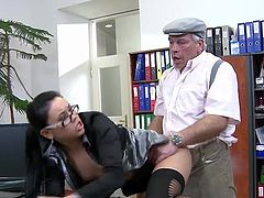 Her office suit will soon come out as horny babe is in need to have her wet cunt devoured by this strong male