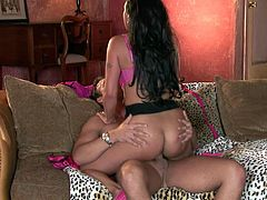 Mariah Milano is a stunning brunette with appetizing curves who loves to fuck! She rides her lover's dick in cowgirl position. Then he fucks her tight twat in missionary position.