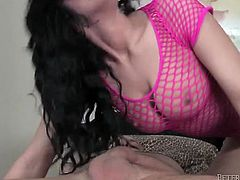 This gorgeous brunette has the face of an angel and a body made for sin. Cock crazed hottie with sparkling eyes sucks her lover's dick like a crazy talented cock sucker.
