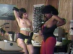 Captivating ebony goddess takes off her shirt demonstrating her big natural boobs. Her female friend approaches her and they start grabbing each other's boobies.