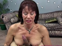 Voracious brunette MILF used her big breasts and saggy mouth to please her feverish young stud. Deep throat is the only thing she is good at. Look at this old bitch in My XXX Pass porn video!