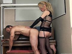 Dirty transsexual porn video is presented by Fame Digital. Blonde shemale slut gives deepthroat blowjob before fucking her lover doggy style.
