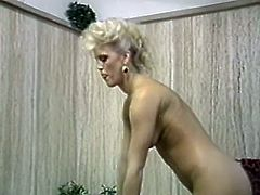 Curly haired filthy bitch in blue night dress got her smelly hairy vagina pleased in missionary style and from behind. Look at that hard sex in The Classic Porn sex clip!
